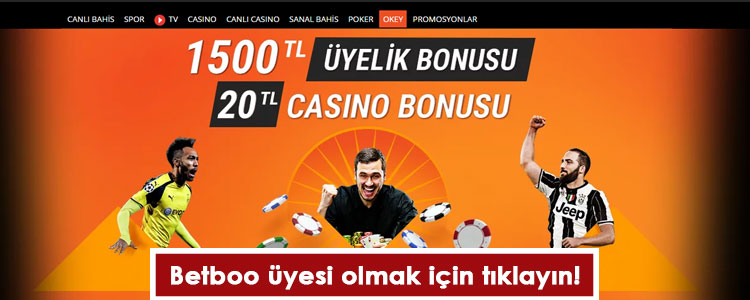 Betboo Üyelik Bonusu 1500 TL Oldu