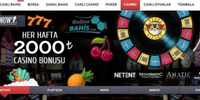 Bahisnow 2000 TL Casino Bonusu