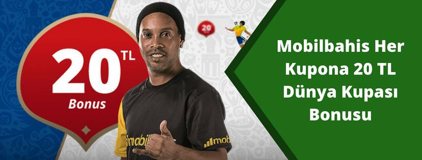 Mobilbahis Dünya Kupası Her Kupona 20 TL Bonus
