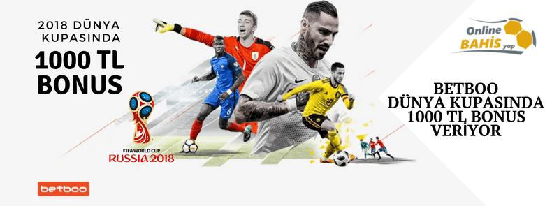 Betboo 2018 Dünya Kupası 1000 TL Bonus